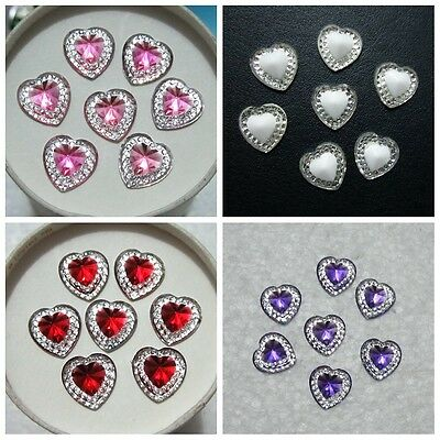 Hot 60pcs 12mm Heart Resin flatback Rhinestone Wedding decoration buttons crafts