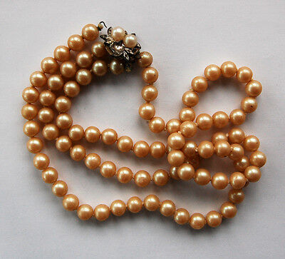 """VINTAGE ANTIQUE KNOTTED PEARL PEARLS NECKLACE DOUBLE STRAND 17""""  J"""