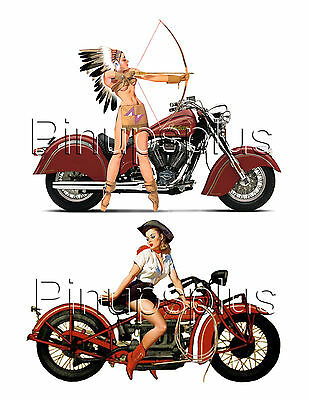 Sexy Pinup Girl Indian motorcycle Waterslide Decals For Guitars & More #211
