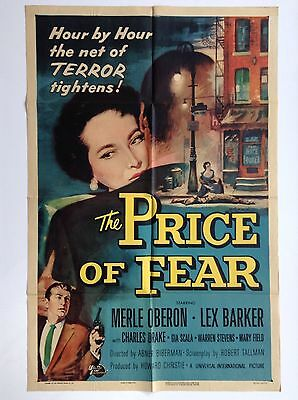 PRICE OF FEAR (VeryGood+) Orig Movie Poster 1956 One Sheet terror horror 2300