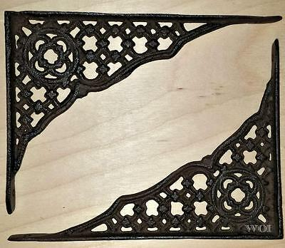2 Rustic Metal Work Design Wall Shelf Support Bracket Hanging Brace Distressed