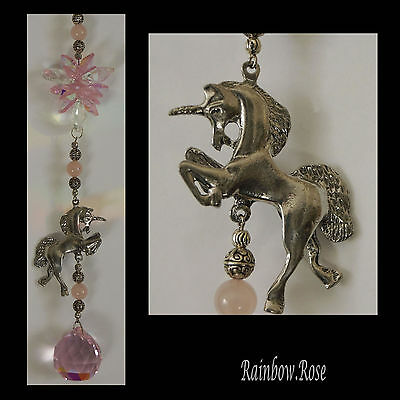 Suncatcher #26 Pewter 3D Unicorn PINK AB 30mm Crystal Ball & cluster