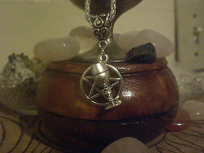 Witch Pentagram Chalice Cup Wine Goblet Charm Necklace Silver