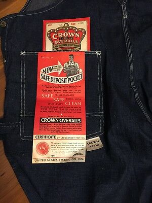 Vintage Deadstock Denim CROWN HEADLIGHT Overalls NWT Sanforized Union Made 48x30