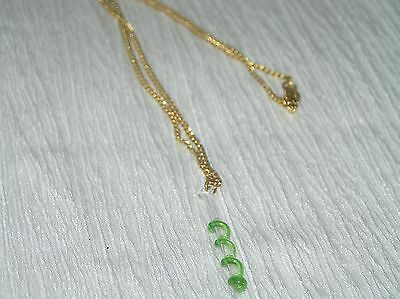 Vintage Simple Goldtone Chain with Clear & Green Twist Glass Pendant Necklace –