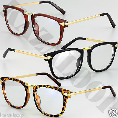 Womens Clear lens square Vintage Fashion Metal frame Glasses