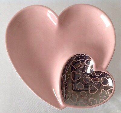 Pink Heart Shaped Divided Serving Dish Chips or Veggies Dip for Valentines Day