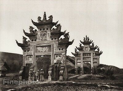 1906 Vintage CHINA LUCHOU Memorial Gates Children Landscape Photo Art BOERSCHMAN