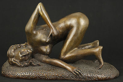 Chinese Old Bronze Collectable Handwork Carved Belle Sexy Art Statue Ornament