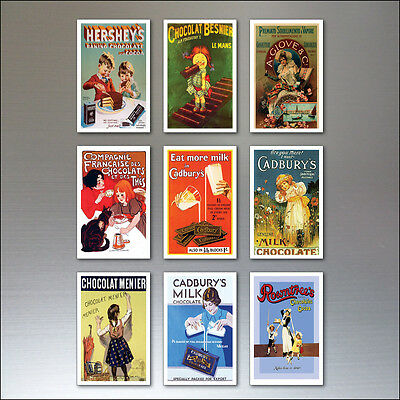 9 Chocolate Vintage Advertising Poster Fridge Magnets Retro