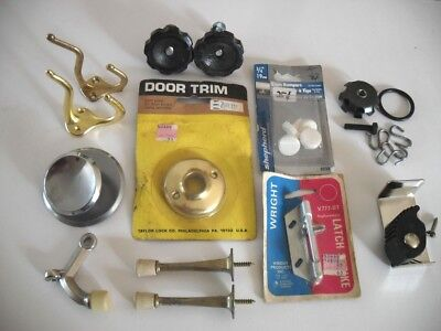 LOT Assorted Hardware Pieces Some VTG Knob Backplate Hooks Door Stops Latch