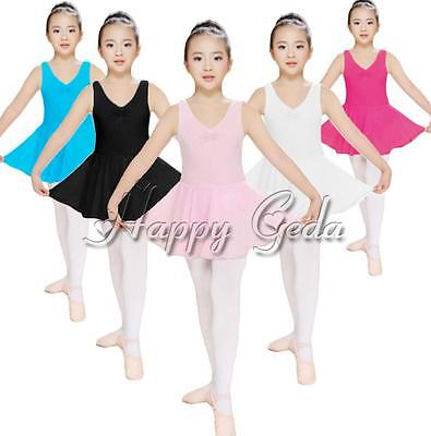 Girls Kids Ballet Leotard Unitards Tutu Dance Dress Toddlers Dancewear SZ 3-12