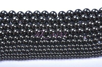 4mm/6mm/8mm/10mm/12mm Ball Black Magnetic Hematite Spacer Charms Beads 30-100pcs