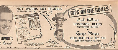 Red Sovine-Who's Lonely/Hank Williams-Lovesick Blues/George Morgan 1949 Ad