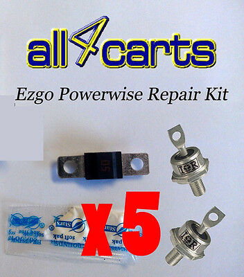 (5) Ezgo Powerwise Charger Repair Kit - Includes Diodes Fuse Grease Click