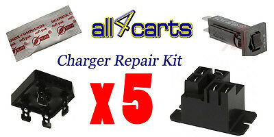 (5) Club Car Powerdrive 2 Charger Repair Kit  - Golf Cart Charger 22110 Fix