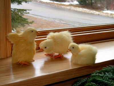 3 Realistic EASTER BABY CHICKS Fake Fur REPLICA Photo Prop 134 FREE SHIPPING USA
