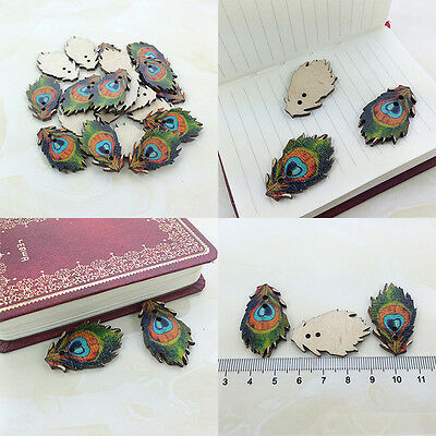 20/50/100Pcs Bulk Peacock Feather Wooden Sewing Buttons Scrapbooking 2 Holes