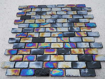 Diesel Black Brick Glass Mosaic Tile Offset  ( Full Sheet ) Bathroom wall tiles