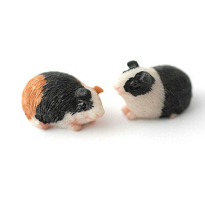 Pair of Guinea Pigs, Miniature, Pet Animals, Doll House, Garden 1.12 Scale,
