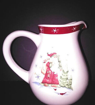 Santa Red Band White Stars Stoneware Made In China Pitcher Read Details CX306