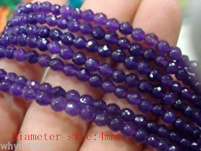"""4mm Faceted Amethyst Gemstone Loose Beads 15"""" /1Strand"""