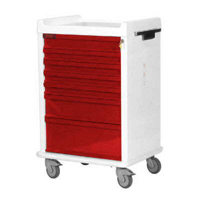 7-Drawer MRI Cart with Key Lock Hammertone Red 1 ea