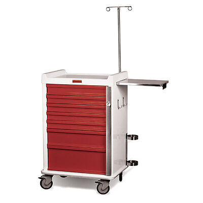 MR-Conditional Emergency Cart 7-Drawer Hammertone Red 1 ea