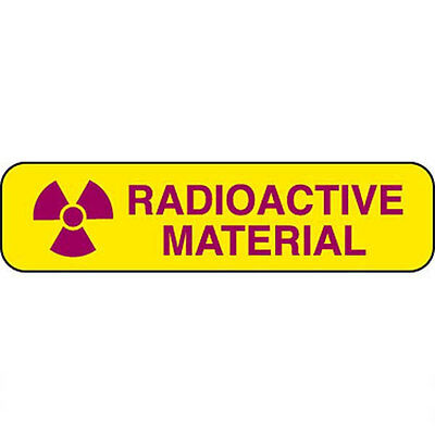 """Pre-Cut Labels Radioactive Material • 1.25""""W x 0.3125""""H each 500 roll"""
