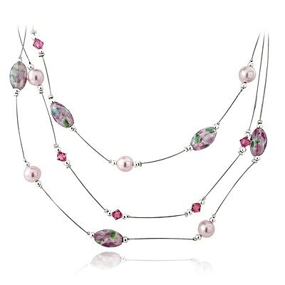 Sterling Silver Hand Blown Millefiori Pink Oval Artisan Glass, Crystals, Beads &