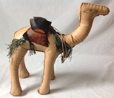 Vtg Arabian Dromedary Camel Hand Stitched Stuffed Leather Nativity Figurine 10""