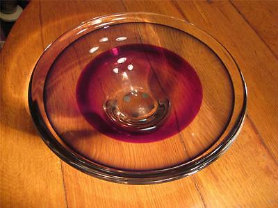 Vintage Orrefors Red Brown Clear Two Color Heavy Glass Bowl 60s 70s