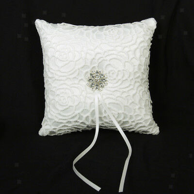 Wedding Ceremony Ivory Satin Crystal Flower Ring Bearer Pillow Cushion 6inch