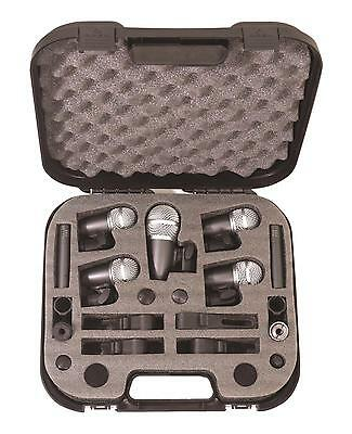 NJS Microphone Drum Kit 7 Piece Mic Set Inc Carry Case Sound Studio PA Band