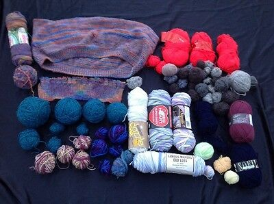 MIXED LOT OF KNITTING/CROCHET YARN 4 lbs Assorted Gray Red Solid & Variegated