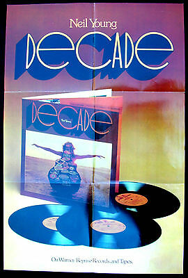 NEIL YOUNG Decade 1976 US ORG Promo Only POSTER Minty!