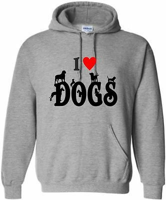 I Love (Heart) Dogs Kids Hoodie Dog Hoody Funny Dog Hooded Sweat Ages 5-15