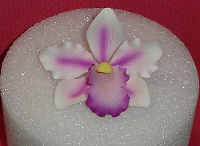 Orchid,Elegant large 3',Gum Paste Decoration,Cake decorating.White/Purple/Wired