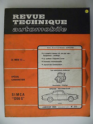 revue technique automobile RTA SIMCA 1200 S