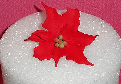 Poinsettia,Elegant large 3',Gum Paste Cake Decoration DecoPac, Red/Wired