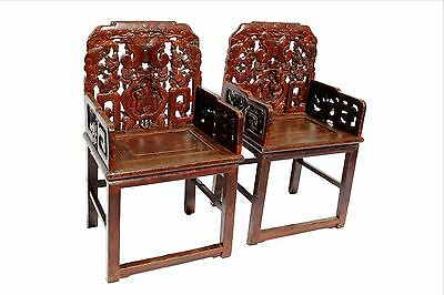 Pair of Burgundy Qing Dynasty Carved Armchairs