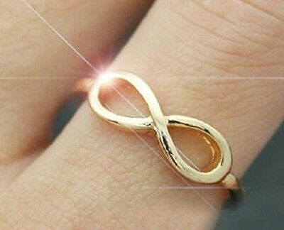 Infinity Ring Symbol Silver Gold Womens Ring US Size 7.5
