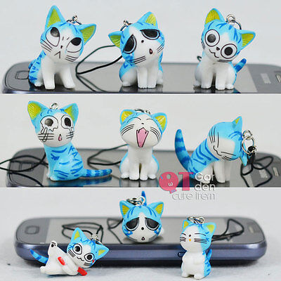 Lot of 9pc Blue Chi's Sweet Home Phone Charms Cute Cheese Cat Strap w/ Jack Plug