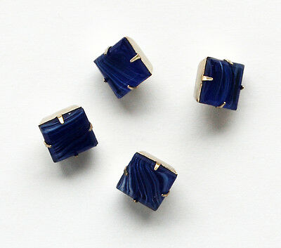 VINTAGE 4 STRIPED COBALT BLUE GLASS BUTTONS SQUARE 12mm SILVER SHANK