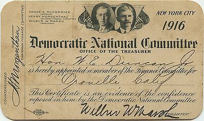 Democratic National Committee Certificate for W.E. Duncan Jr, Circa: 1916