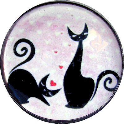 Crystal Dome Button Black Love Cats w/ Hearts  -1 inch  PC 19 FREE US SHIPPING