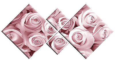 LARGE PINK CANVAS ROSES FLORAL WALL ART PICTURE DIAMOND MULTI  4 PANEL 148cm
