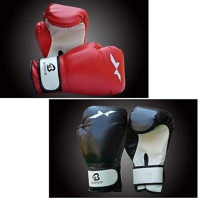 Adult Leather Boxing Gloves Fight,Punch Bag MMA Muay thai Grappling Pad Adjustab