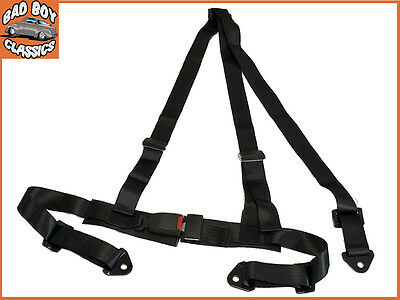 Black 3 Point Racing Seat Belt  Harness Kit For Car / Off Road / 4x4