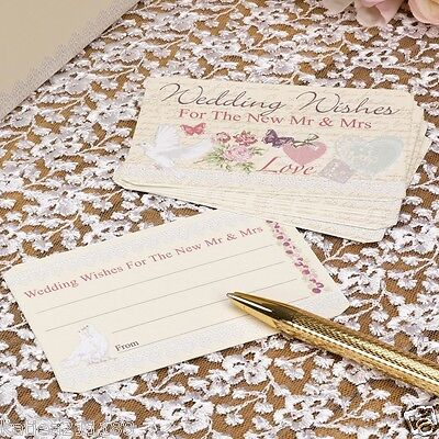 New wedding with love vintage floral love birds pack of 25 wedding wishes cards
